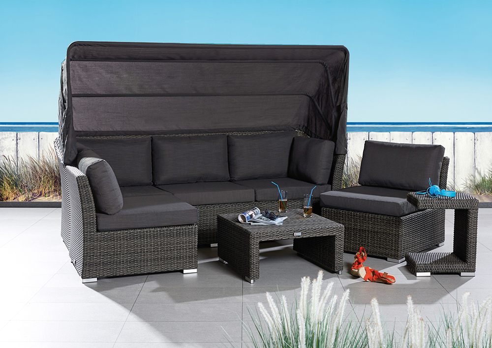 loungegruppe mit dach barcelona 5tlg polyrattan loungegarnitur gartenlounge 791756422597 ebay. Black Bedroom Furniture Sets. Home Design Ideas