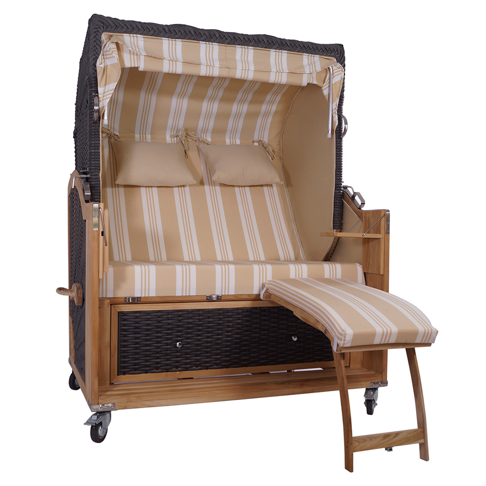 strandkorb kampen mocca 2 5 sitzer pe polyrattan teak volllieger sport beige ebay. Black Bedroom Furniture Sets. Home Design Ideas