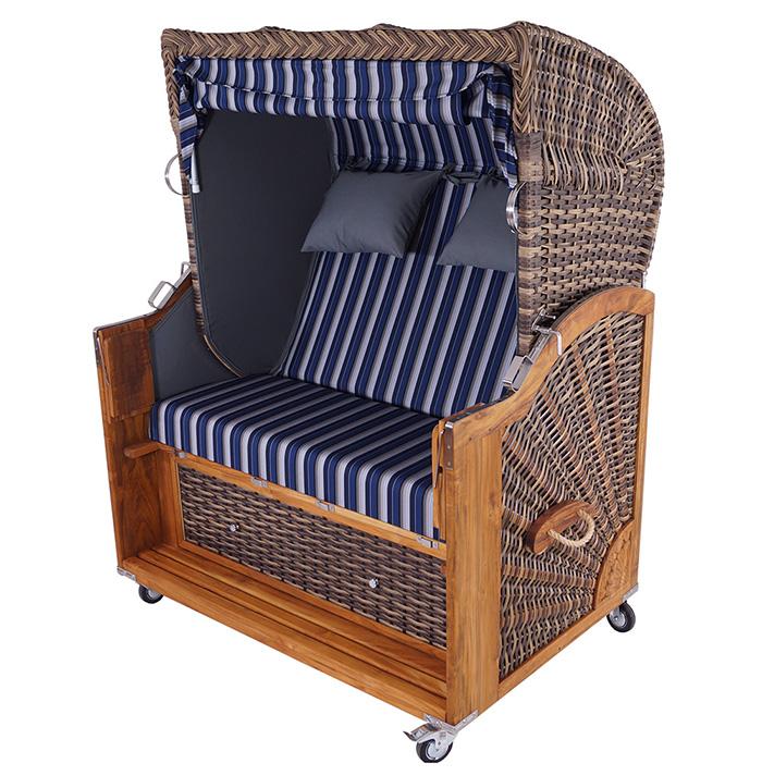 strandkorb kampen snake 2 5 sitzer pe polyrattan teak. Black Bedroom Furniture Sets. Home Design Ideas