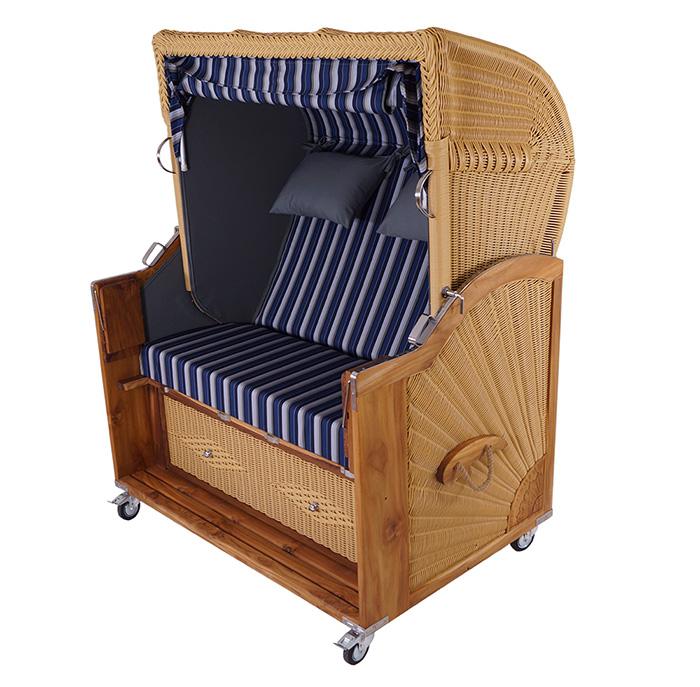 strandkorb kampen natur 2 5 sitzer pe polyrattan teak. Black Bedroom Furniture Sets. Home Design Ideas