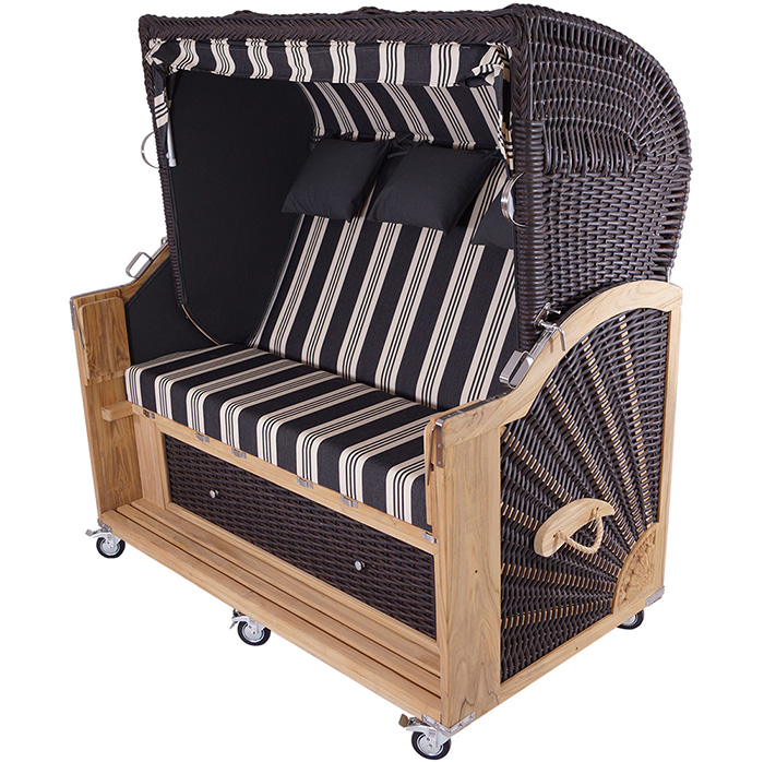 strandkorb kampen mocca 3 sitzer pe polyrattan teak. Black Bedroom Furniture Sets. Home Design Ideas