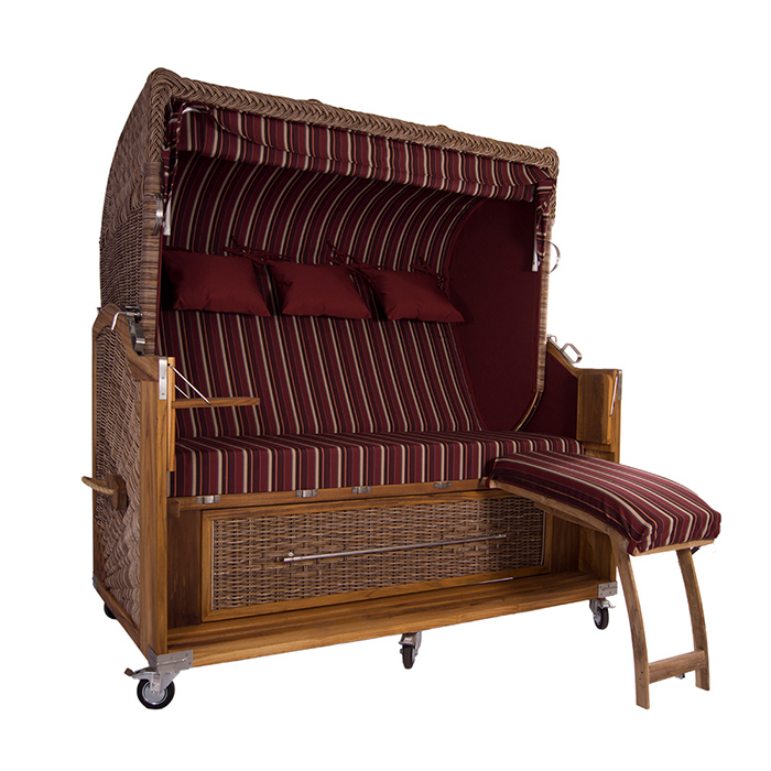 strandkorb kampen banana 3 sitzer pe polyrattan teak volllieger sonnendekor ebay. Black Bedroom Furniture Sets. Home Design Ideas