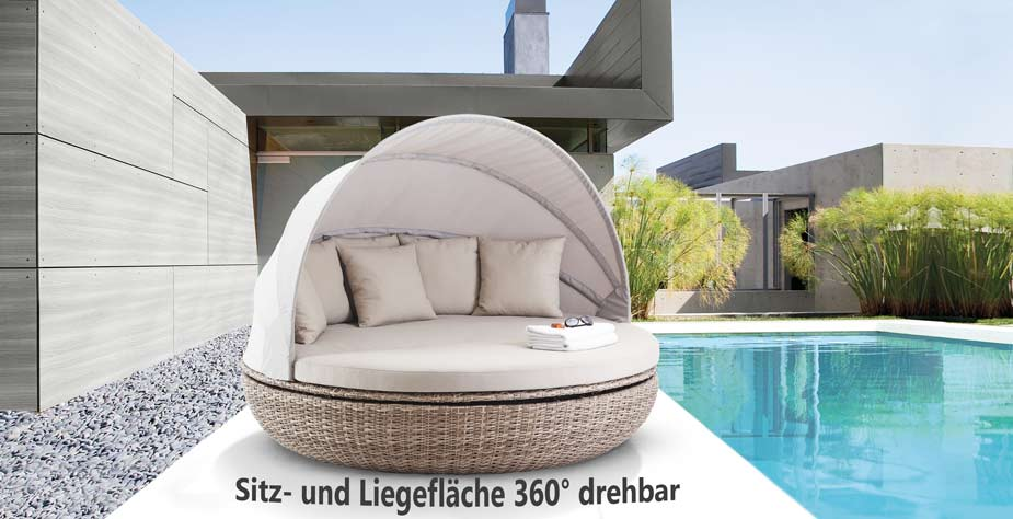 liegeinsel cardiff white pepper gartenlounge sonneninsel 360 drehbar garten ebay. Black Bedroom Furniture Sets. Home Design Ideas