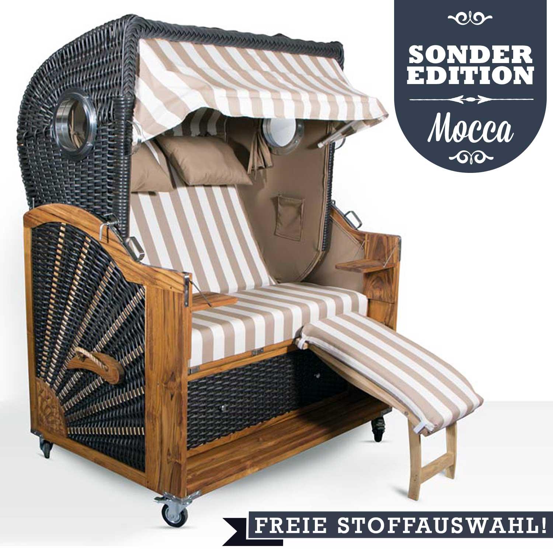 2 5 sitzer mocca bullaugen strandkorb freie farbwahl teak. Black Bedroom Furniture Sets. Home Design Ideas