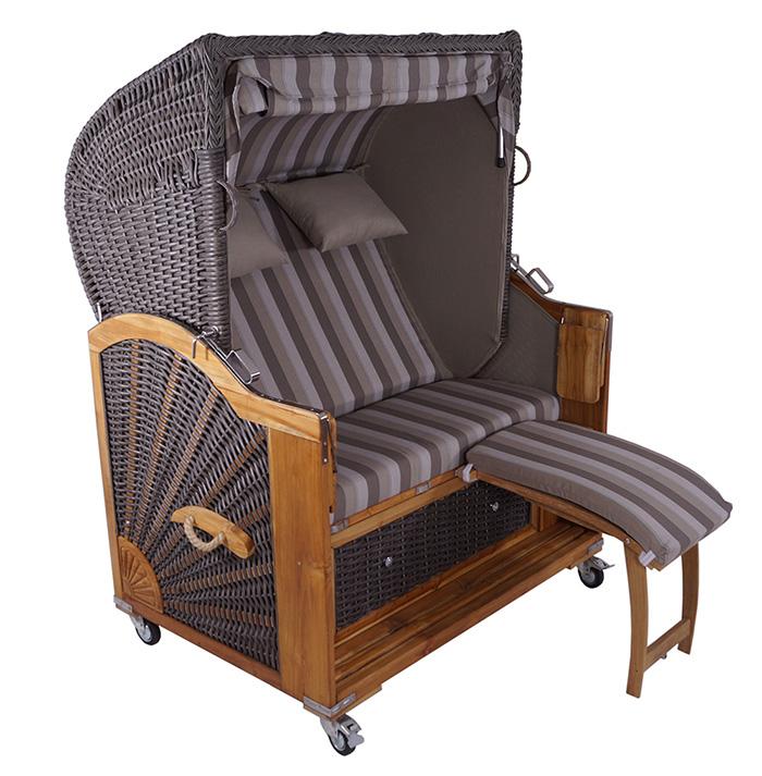 2 5 sitzer strandkorb kampen polyrattan handgefertigt. Black Bedroom Furniture Sets. Home Design Ideas