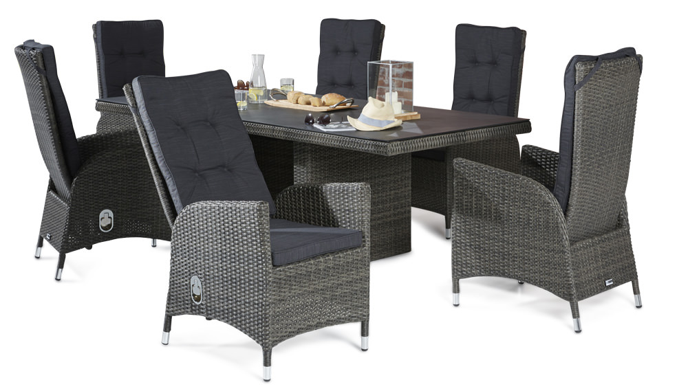 essgruppe sitzgruppe rocking gartengarnitur poly rattan set grau tisch 6 st hle ebay. Black Bedroom Furniture Sets. Home Design Ideas