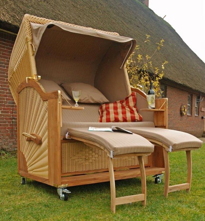 pe rattan strandkorb kampen 2 5 sitzer teakholz dralonpolster volllieger ebay. Black Bedroom Furniture Sets. Home Design Ideas