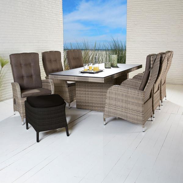 Tischgruppe Turin Natur Geflecht Tisch 6 Stühle
