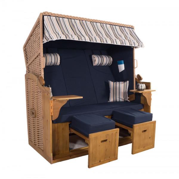 XXL 2,5-Sitzer Natur Strandkorb Hörnum Blau-Grau-Beige-Oliv Nadelstreifen 3T
