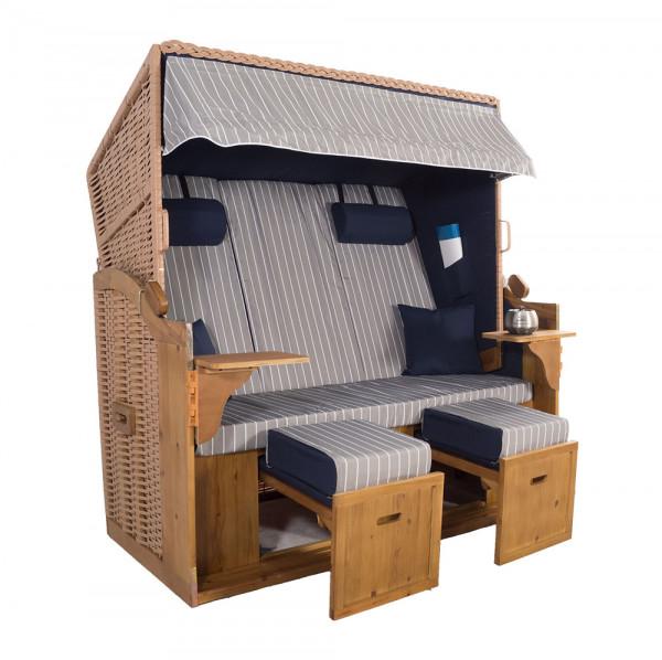 XXL 2,5-Sitzer Natur Strandkorb Hörnum Blau-Grau Nadelstreifen
