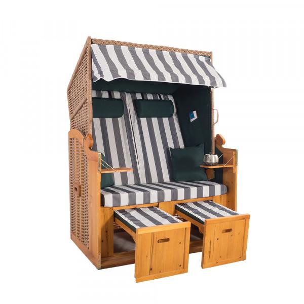 2 Sitzer Natur Ostseestrandkorb Hörnum Grün-Grau Blockstreifen