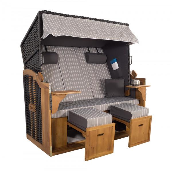XXL 2,5-Sitzer Schwarz Strandkorb Hörnum Grau Nadelstreifen