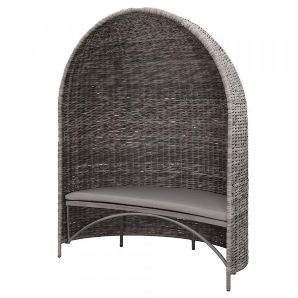 Strandmuschel Old Grey mit Sitzbank inkl. Sitzpolster in grau