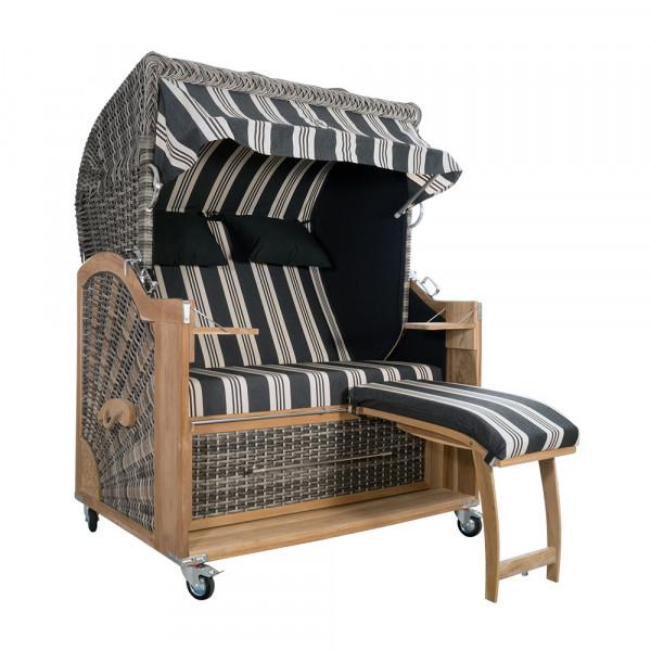 Strandkorb Kampen 2,5-Sitzer White Oak Set 5 inkl. Industrierollen und Hydraulikdämpfer