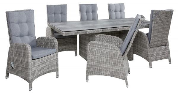 Tischgruppe Nizza White Grey Tisch 6 Stühle Dining Set