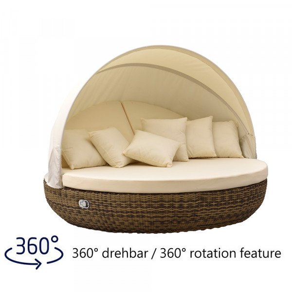 Liegeinsel Pacific Lounge Cubu Cream Grey - 360°-Drehtechnik