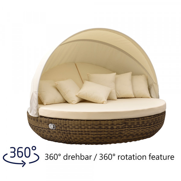 Liegeinsel Pacific Lounge Cubu Cream Grey - 360°-Drehtechnik