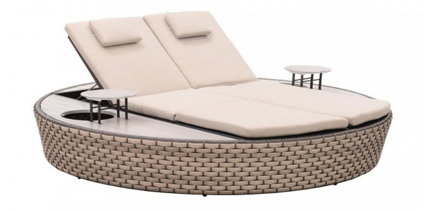Liegeinsel Carbo Lounge beige - 360°-Drehtechnik