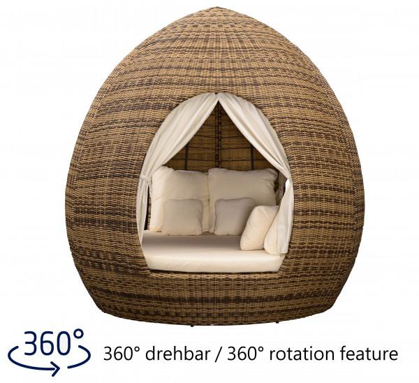Liegeinsel Egg Daybed Cubu Cream mit Vorhängen - 360°-Drehtechnik