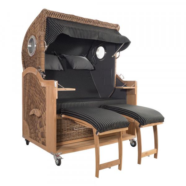 Strandkorb Kampen Spezial 2-Sitzer Banana Set 2 inkl. Industrierollen und Hydraulikdämpfer