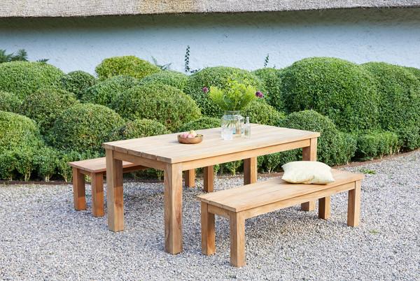 Teakholz 3-teiliges Set Esstisch ca. 180cm Bank ca.150cm Tisch Teak Möbelset