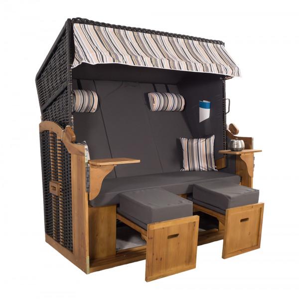 XXL 2,5-Sitzer Schwarz Strandkorb Hörnum Grau-Beige-Oliv Nadelstreifen 3T