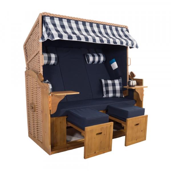 XXL 2,5-Sitzer Natur Strandkorb Hörnum Blau Kariert 3T