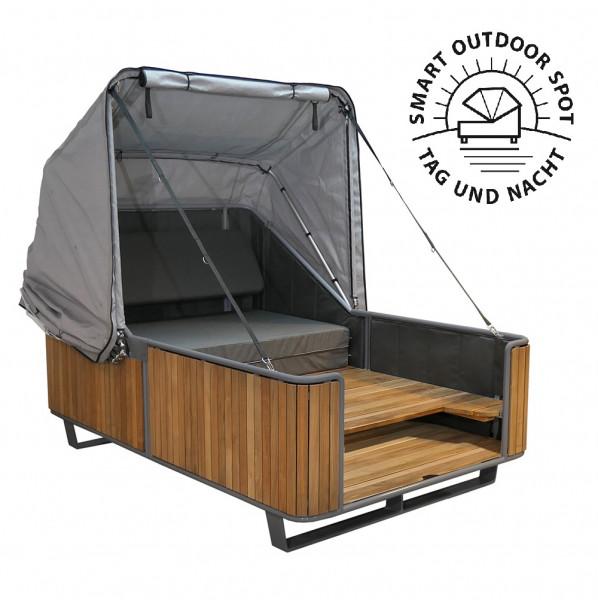 Schlaf-Strandkorb 2.0 liv.be by Ploß TEAK – 2in1 Bett und Lounge