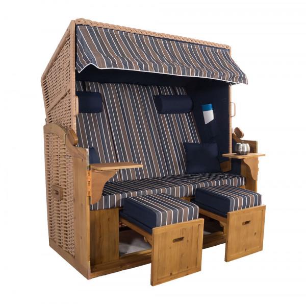 XXL 2,5-Sitzer Natur Strandkorb Hörnum Blau-Braun-Blau Blockstreifen
