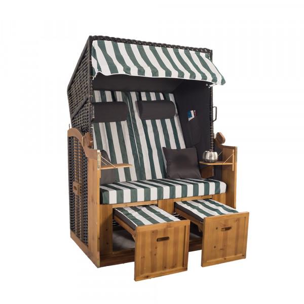 2 Sitzer Schwarz Ostseestrandkorb Hörnum Grau-Grün Blockstreifen