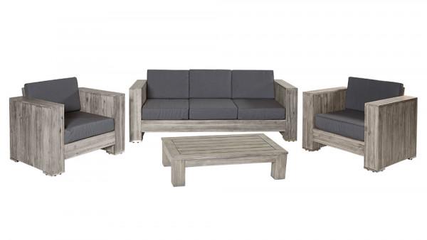 Loungegruppe Bali grau Akazienholz Palettenmöbel Sitzgruppe komplett montiert
