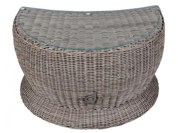 Beistelltisch mit Glasplatte zur Paradiso Lounge Cubu Taupe Frontalansicht