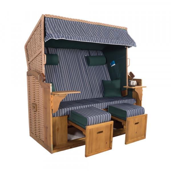 XXL 2,5-Sitzer Natur Strandkorb Hörnum Grün-Blau Nadelstreifen