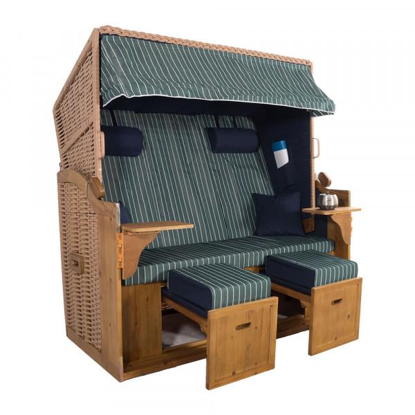 XXL 2,5-Sitzer Natur Strandkorb Hörnum Blau-Grün Nadelstreifen