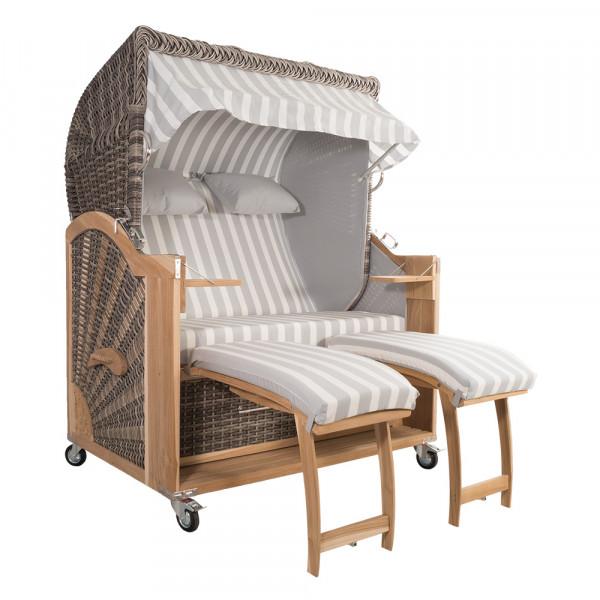 Strandkorb Kampen 2,5-Sitzer White Oak Set 3 inkl. Industrierollen und Hydraulikdämpfer