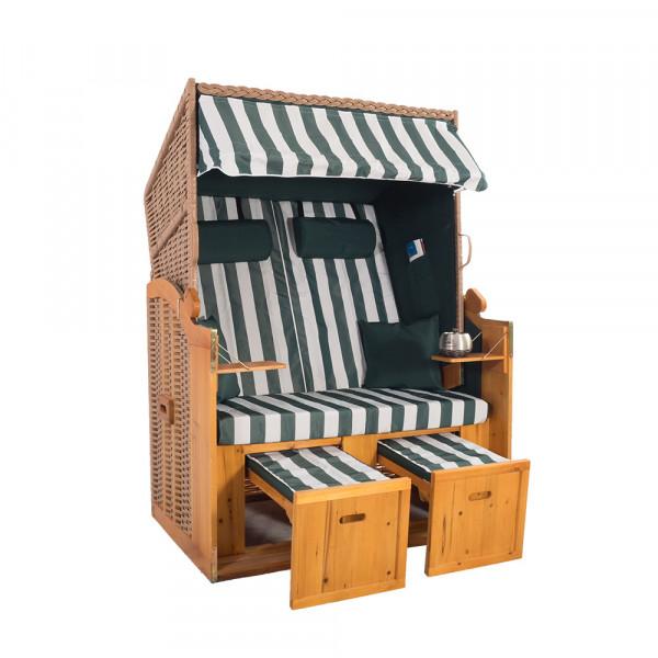 2 Sitzer Natur Ostseestrandkorb Hörnum Grün Blockstreifen