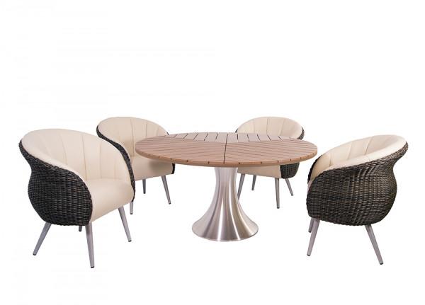 Tischgruppe Sofia Gartentisch Esstisch Dining Armchair Polyrattan YachtBezug
