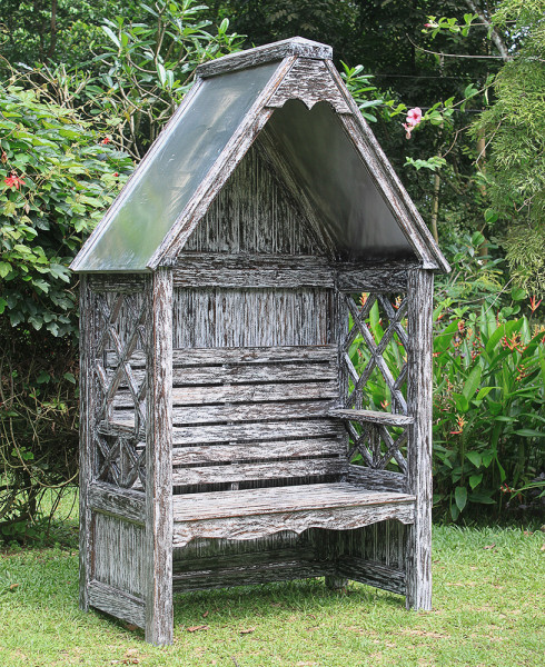 Mahagoni Laubenbank / Philosophenbank Bali dark white wash verzinkt