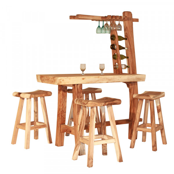 Teakholz Bar (Tisch + 4 Hocker)