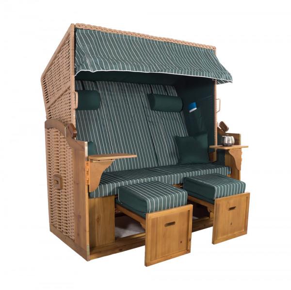 XXL 2,5-Sitzer Natur Strandkorb Hörnum Grün Nadelstreifen