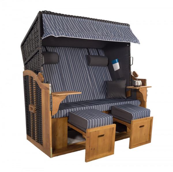 XXL 2,5-Sitzer Schwarz Strandkorb Hörnum Grau-Blau Nadelstreifen