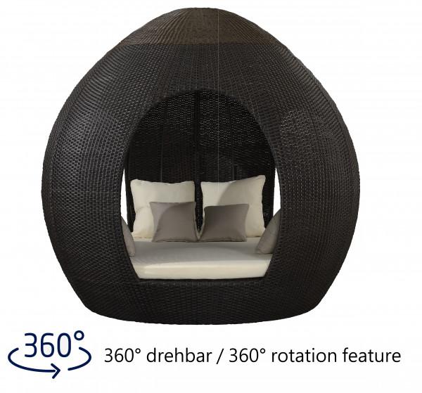 Liegeinsel Egg Daybed Mocha - 360°-Drehtechnik