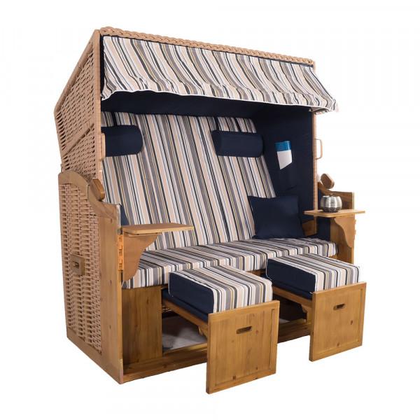 XXL 2,5-Sitzer Natur Strandkorb Hörnum Blau-Grau-Beige-Oliv Nadelstreifen