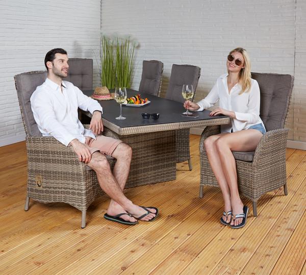 Tischgruppe Ibiza Champagner Tisch 6 Stühle