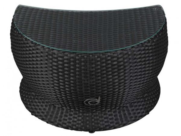 Beistelltisch mit Glasplatte zur Paradiso Lounge Black Braids Frontalansicht