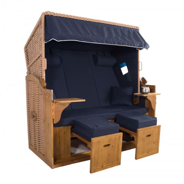 XXL 2,5-Sitzer Natur Strandkorb Hörnum Blau Uni
