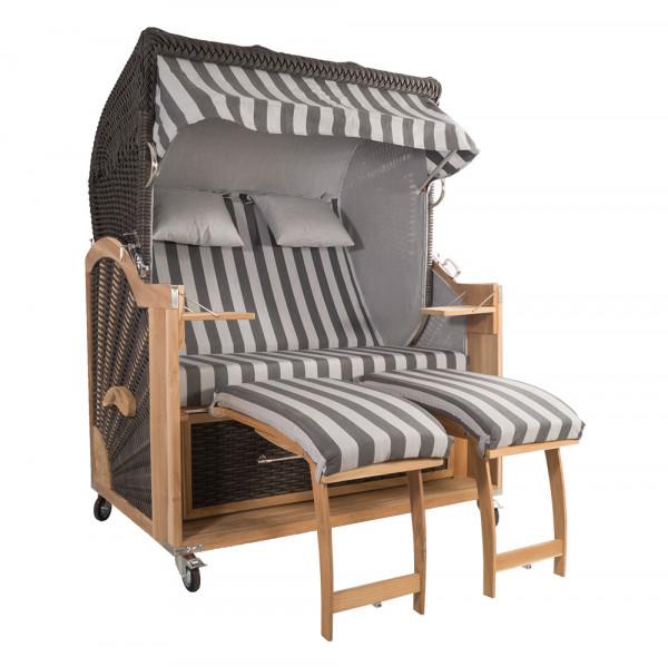 Strandkorb Kampen 2,5-Sitzer Mocca Set 2 inkl. Industrierollen und Hydraulikdämpfer