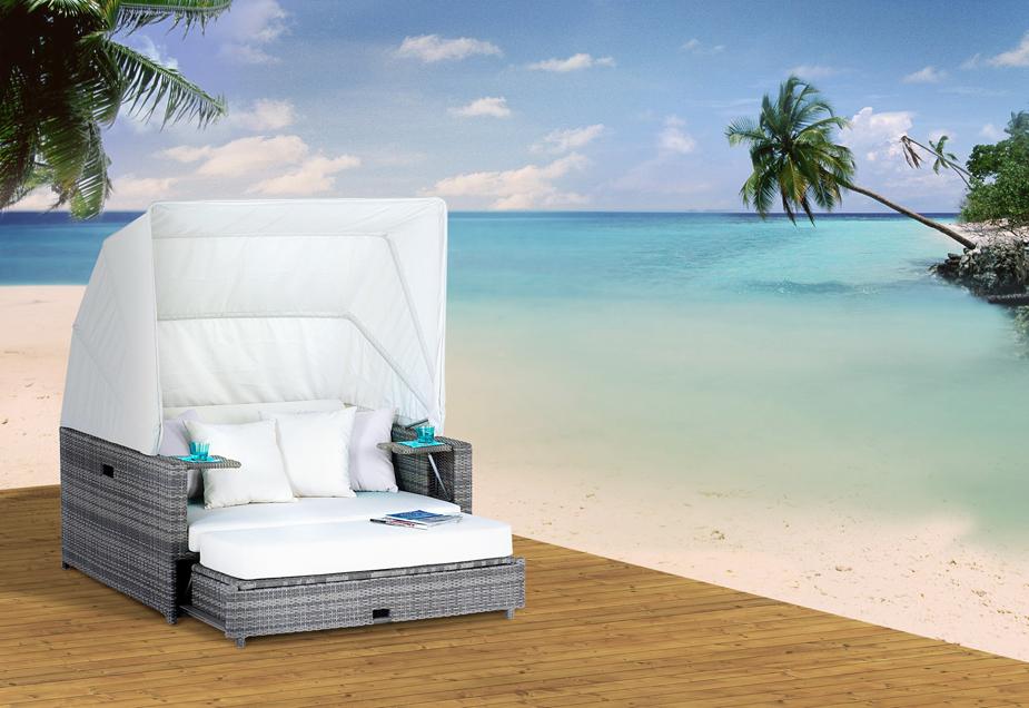liegeinsel beach lounge ashe silbergrau von domus ventures. Black Bedroom Furniture Sets. Home Design Ideas