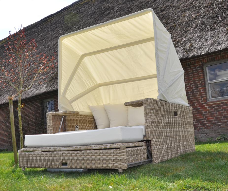 beach lounge garten polyrattan liege sonneninsel liegeinsel domus ventures wheat ebay. Black Bedroom Furniture Sets. Home Design Ideas