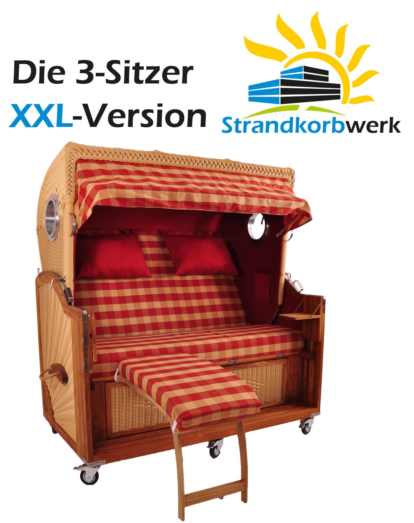 strandkorb teak pe dralon kampen spezial dreisitzer xxl volllieger gartenliege ebay. Black Bedroom Furniture Sets. Home Design Ideas